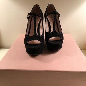 Miu Miu Black Suede Mary Jane Peep-Toe Wedges